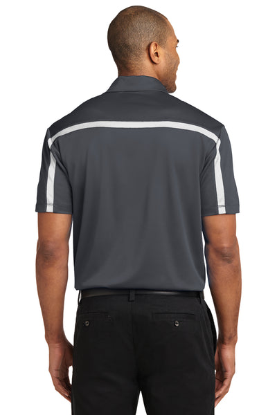 Port Authority K547 Mens Silk Touch Performance Moisture Wicking Short Sleeve Polo Shirt Steel Grey/White Back