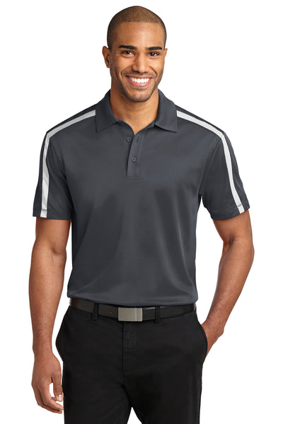 Port Authority K547 Mens Silk Touch Performance Moisture Wicking Short Sleeve Polo Shirt Steel Grey/White Front