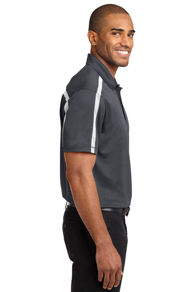 Port Authority K547 Mens Silk Touch Performance Moisture Wicking Short Sleeve Polo Shirt Steel Grey/White Side