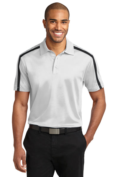 Port Authority K547 Mens Silk Touch Performance Moisture Wicking Short Sleeve Polo Shirt White/Black Front