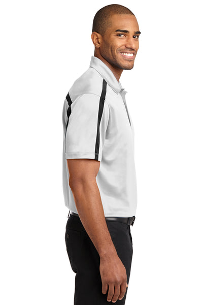 Port Authority K547 Mens Silk Touch Performance Moisture Wicking Short Sleeve Polo Shirt White/Black Side
