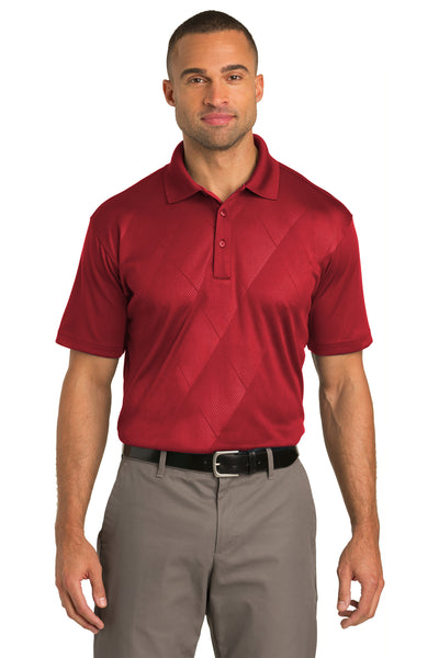 Port Authority K548 Mens Tech Moisture Wicking Short Sleeve Polo Shirt Red Front