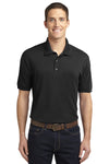 Port Authority K567 Mens 5-1 Performance Moisture Wicking Short Sleeve Polo Shirt Black Front