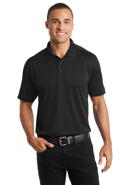 Port Authority K569 Mens Moisture Wicking Short Sleeve Polo Shirt Black Front