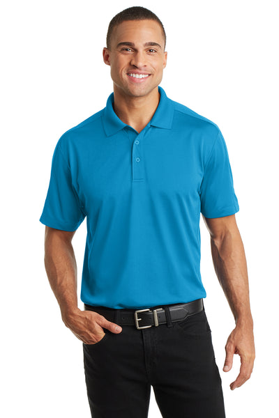 Port Authority K569 Mens Moisture Wicking Short Sleeve Polo Shirt Blue Wake Front