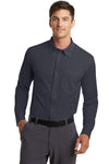 Port Authority K570 Mens Dimension Moisture Wicking Long Sleeve Button Down Shirt w/ Pocket Battleship Grey Front