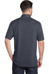 Port Authority K574 Mens Digi Heather Performance Moisture Wicking Short Sleeve Polo Shirt Dark Grey Back