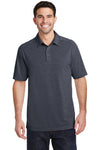 Port Authority K574 Mens Digi Heather Performance Moisture Wicking Short Sleeve Polo Shirt Dark Grey Front
