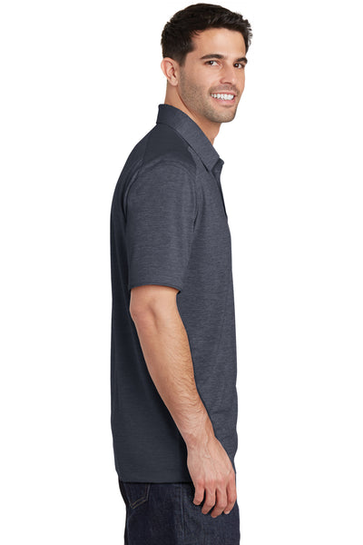 Port Authority K574 Mens Digi Heather Performance Moisture Wicking Short Sleeve Polo Shirt Dark Grey Side