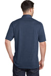Port Authority K574 Mens Digi Heather Performance Moisture Wicking Short Sleeve Polo Shirt Navy Blue Back