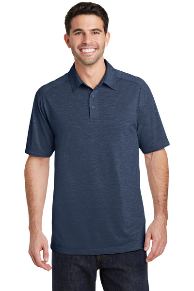 Port Authority K574 Mens Digi Heather Performance Moisture Wicking Short Sleeve Polo Shirt Navy Blue Front