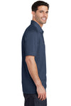 Port Authority K574 Mens Digi Heather Performance Moisture Wicking Short Sleeve Polo Shirt Navy Blue Side