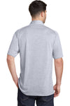 Port Authority K574 Mens Digi Heather Performance Moisture Wicking Short Sleeve Polo Shirt Light Grey Back
