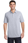 Port Authority K574 Mens Digi Heather Performance Moisture Wicking Short Sleeve Polo Shirt Light Grey Front