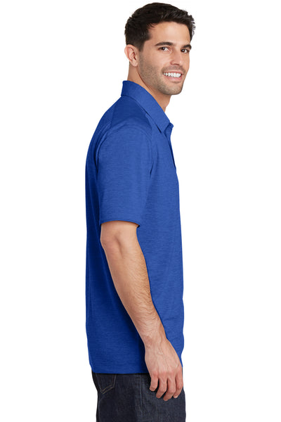 Port Authority K574 Mens Digi Heather Performance Moisture Wicking Short Sleeve Polo Shirt Royal Blue Side