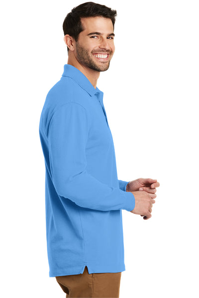 Port Authority K8000LS Mens Wrinkle Resistant Long Sleeve Polo Shirt Azure Blue Side