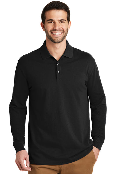 Port Authority K8000LS Mens Wrinkle Resistant Long Sleeve Polo Shirt Black Front