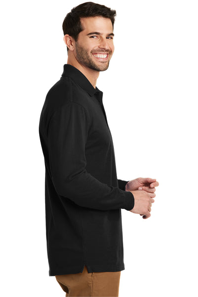 Port Authority K8000LS Mens Wrinkle Resistant Long Sleeve Polo Shirt Black Side