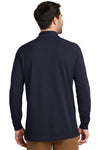 Port Authority K8000LS Mens Wrinkle Resistant Long Sleeve Polo Shirt Navy Blue Back
