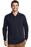 Port Authority K8000LS Mens Wrinkle Resistant Long Sleeve Polo Shirt Navy Blue Front