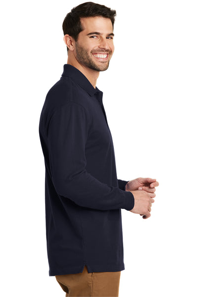 Port Authority K8000LS Mens Wrinkle Resistant Long Sleeve Polo Shirt Navy Blue Side