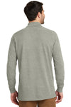 Port Authority K8000LS Mens Wrinkle Resistant Long Sleeve Polo Shirt Heather Oxford Grey Back