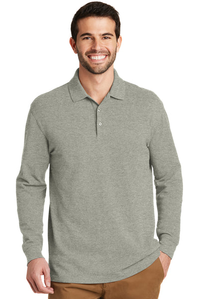 Port Authority K8000LS Mens Wrinkle Resistant Long Sleeve Polo Shirt Heather Oxford Grey Front