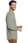 Port Authority K8000LS Mens Wrinkle Resistant Long Sleeve Polo Shirt Heather Oxford Grey Side