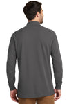 Port Authority K8000LS Mens Wrinkle Resistant Long Sleeve Polo Shirt Sterling Grey Back