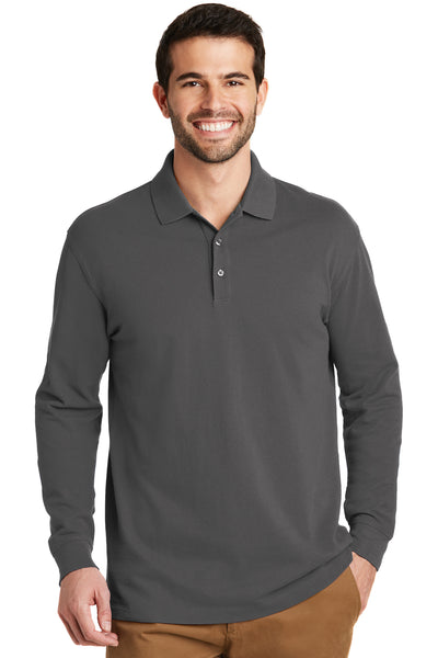 Port Authority K8000LS Mens Wrinkle Resistant Long Sleeve Polo Shirt Sterling Grey Front