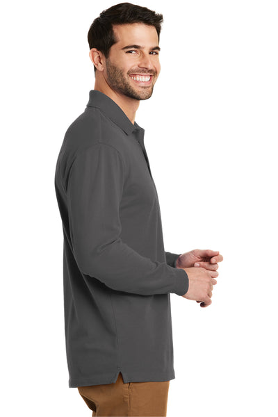 Port Authority K8000LS Mens Wrinkle Resistant Long Sleeve Polo Shirt Sterling Grey Side