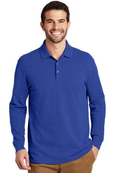 Port Authority K8000LS Mens Wrinkle Resistant Long Sleeve Polo Shirt Royal Blue Front