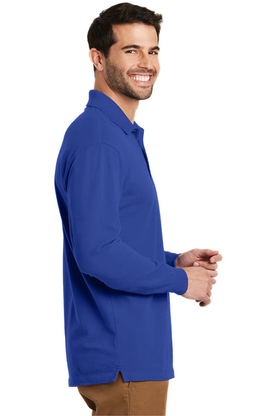 Port Authority K8000LS Mens Wrinkle Resistant Long Sleeve Polo Shirt Royal Blue Side