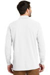 Port Authority K8000LS Mens Wrinkle Resistant Long Sleeve Polo Shirt White Back