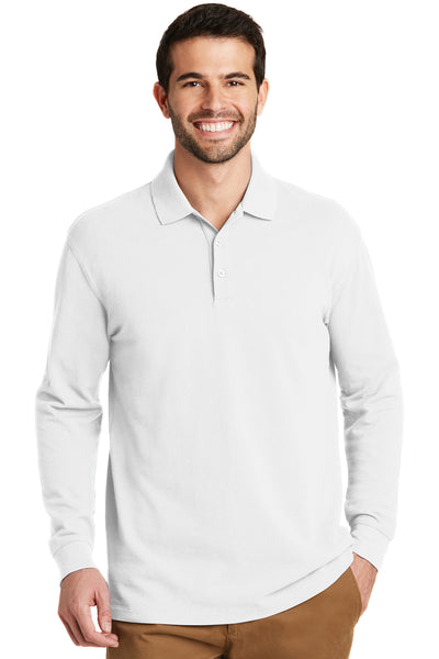 Port Authority K8000LS Mens Wrinkle Resistant Long Sleeve Polo Shirt White Front