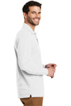 Port Authority K8000LS Mens Wrinkle Resistant Long Sleeve Polo Shirt White Side