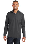 Port Authority K806 Mens Moisture Wicking 1/4 Zip Sweatshirt Battleship Grey Front