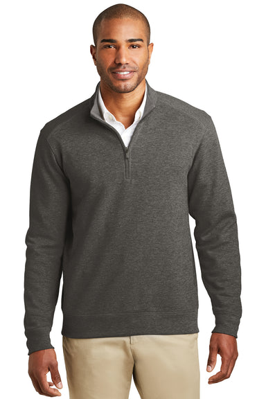 Port Authority K807 Mens 1/4 Zip Long Sleeve Sweater Heather Charcoal Grey Front