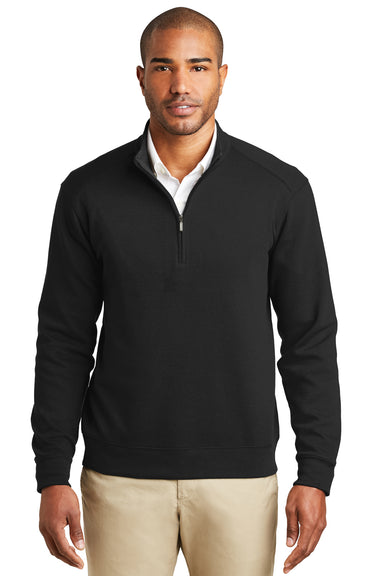 Port Authority K807 Mens 1/4 Zip Long Sleeve Sweater Black Front