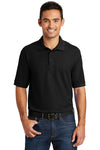 Port & Company KP155 Mens Core Stain Resistant Short Sleeve Polo Shirt Black Front
