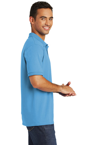 Port & Company KP55 Mens Core Stain Resistant Short Sleeve Polo Shirt Aqua Blue Side