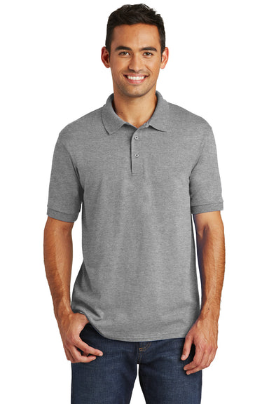 Port & Company KP55 Mens Core Stain Resistant Short Sleeve Polo Shirt Heather Grey Front