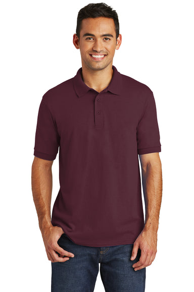 Port & Company KP55 Mens Core Stain Resistant Short Sleeve Polo Shirt Maroon Front