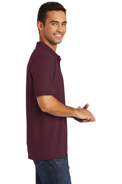 Port & Company KP55 Mens Core Stain Resistant Short Sleeve Polo Shirt Maroon Side
