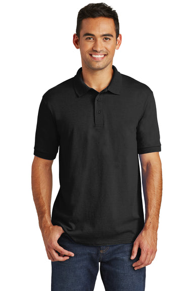 Port & Company KP55 Mens Core Stain Resistant Short Sleeve Polo Shirt Black Front