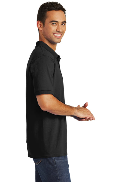 Port & Company KP55 Mens Core Stain Resistant Short Sleeve Polo Shirt Black Side