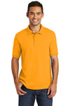 Port & Company KP55 Mens Core Stain Resistant Short Sleeve Polo Shirt Gold Front