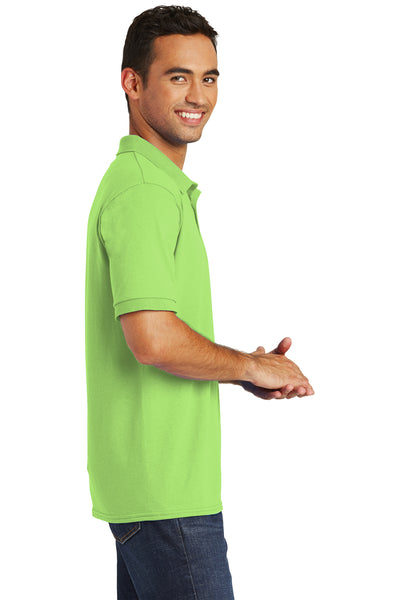 Port & Company KP55 Mens Core Stain Resistant Short Sleeve Polo Shirt Lime Green Side