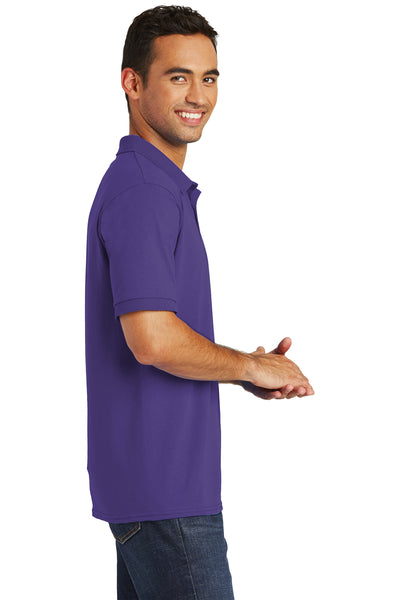 Port & Company KP55 Mens Core Stain Resistant Short Sleeve Polo Shirt Purple Side