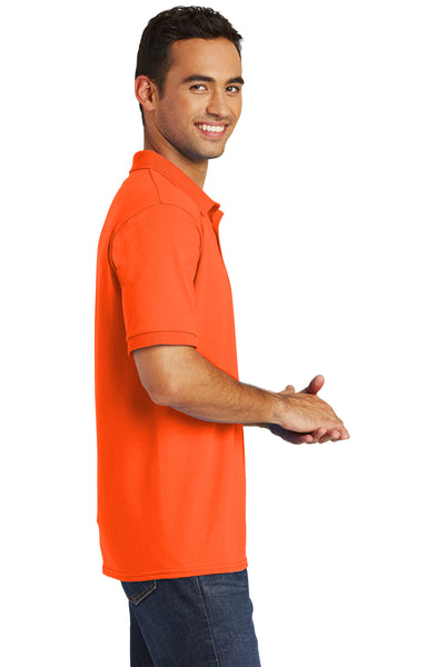 Port & Company KP55 Mens Core Stain Resistant Short Sleeve Polo Shirt Safety Orange Side